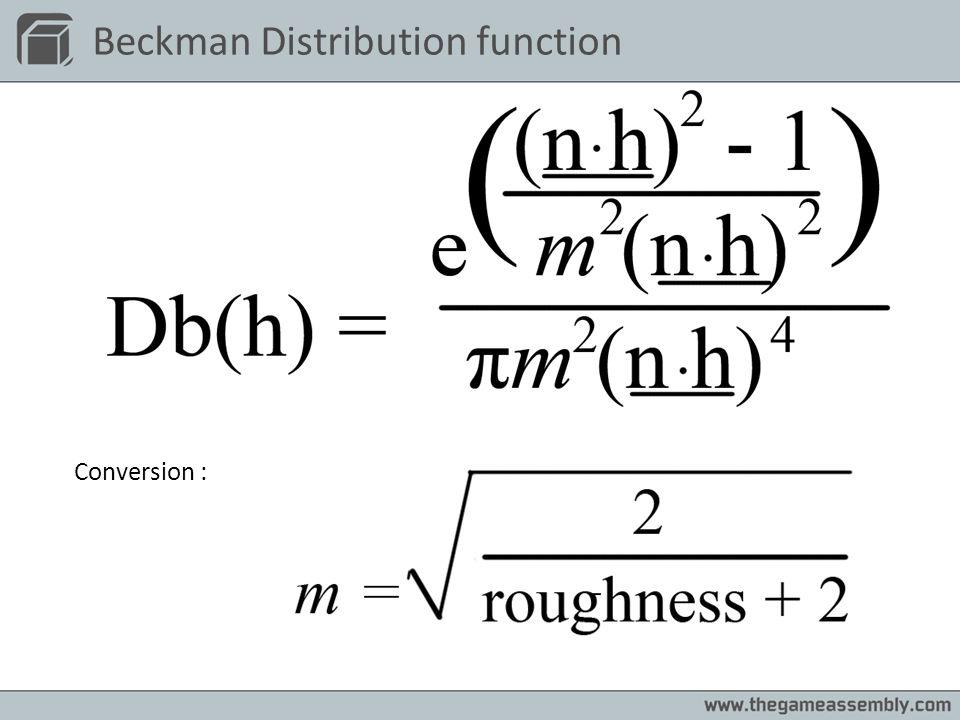 Beckman Distribution function Conversion :