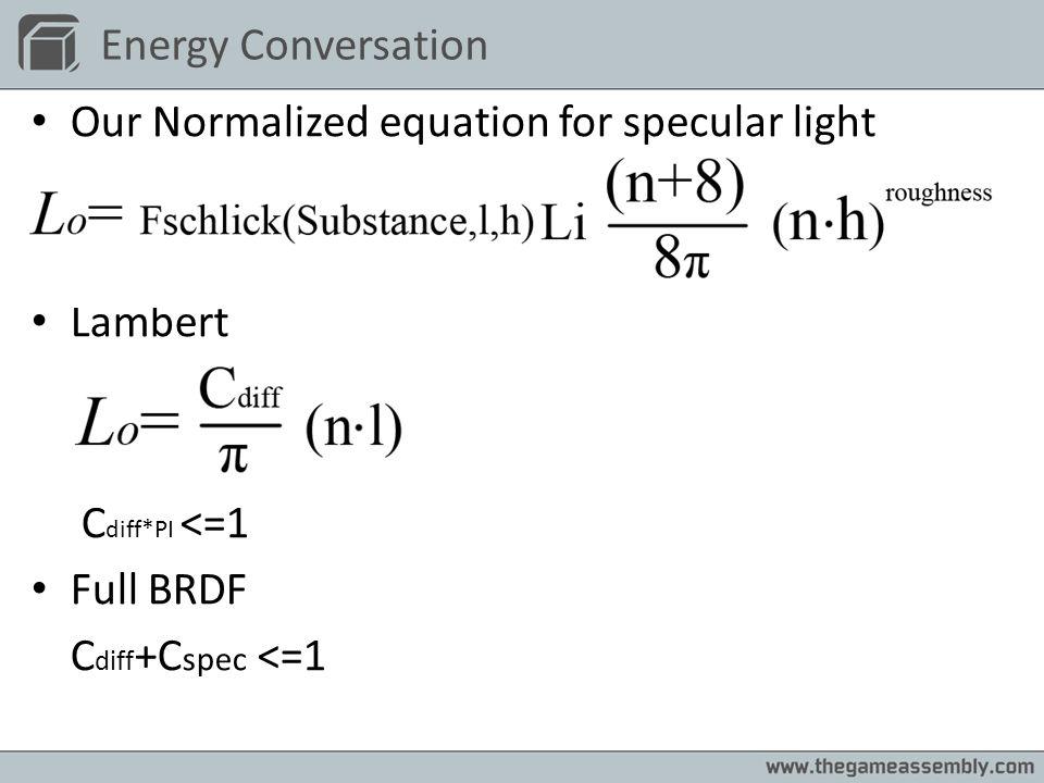 Energy Conversation Our Normalized equation for specular light Lambert C diff*PI <=1 Full BRDF C diff +C spec <=1