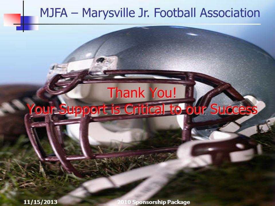 MJFA – Marysville Jr. Football Association 11/15/20132010 Sponsorship Package Thank You.