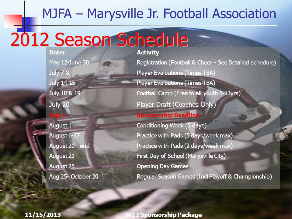 MJFA – Marysville Jr. Football Association 11/15/20132012 Sponsorship Package 2012 Season Schedule Date:Activity May 12-June 30Registration (Football