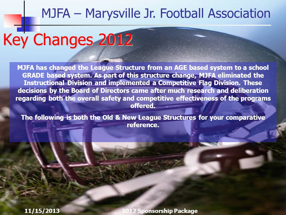 MJFA – Marysville Jr. Football Association 11/15/20132012 Sponsorship Package Key Changes 2012 MJFA has changed the League Structure from an AGE based