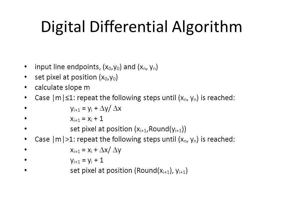 Digital Differential Algorithm input line endpoints, (x 0,y 0 ) and (x n, y n ) set pixel at position (x 0,y 0 ) calculate slope m Case |m|1: repeat t