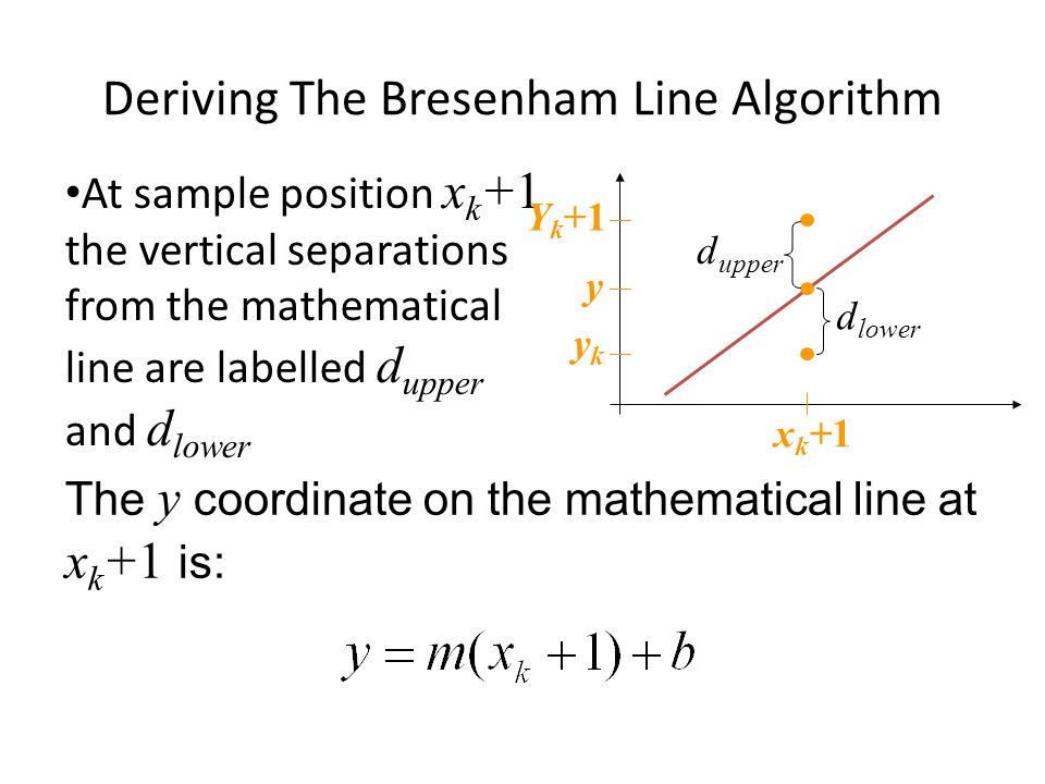 The y coordinate on the mathematical line at x k +1 is: Deriving The Bresenham Line Algorithm At sample position x k +1 the vertical separations from