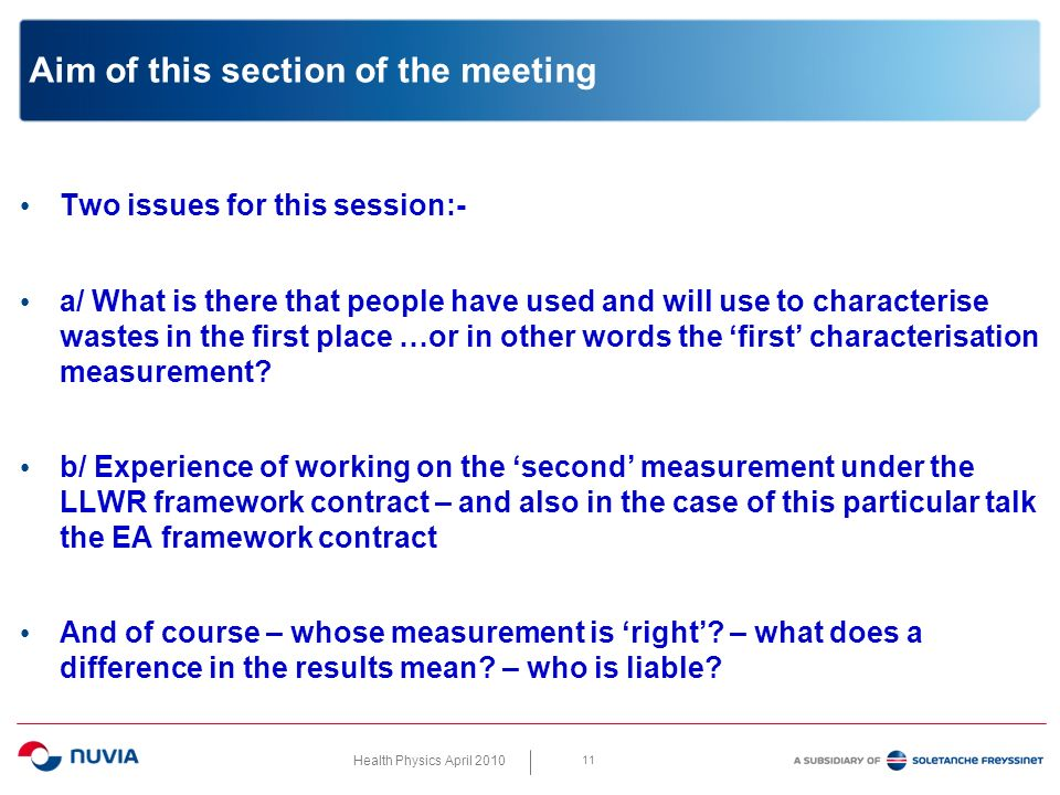 Health Physics April 2010 11 Aim of this section of the meeting Two issues for this session:- a/ What is there that people have used and will use to characterise wastes in the first place …or in other words the first characterisation measurement.