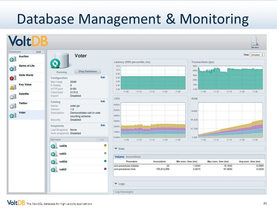 21 The NewSQL database for high velocity applications Database Management & Monitoring