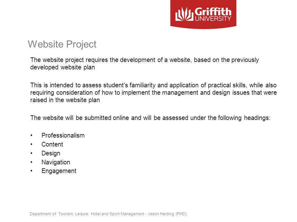 Website Project The website project requires the development of a website, based on the previously developed website plan This is intended to assess s