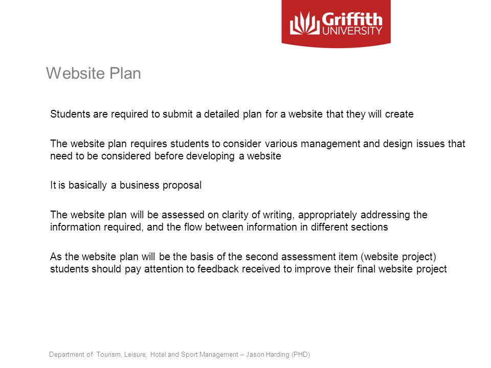 Website Plan Students are required to submit a detailed plan for a website that they will create The website plan requires students to consider variou