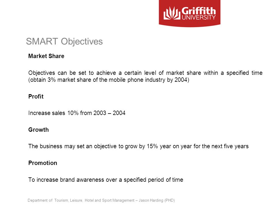 SMART Objectives Market Share Objectives can be set to achieve a certain level of market share within a specified time (obtain 3% market share of the