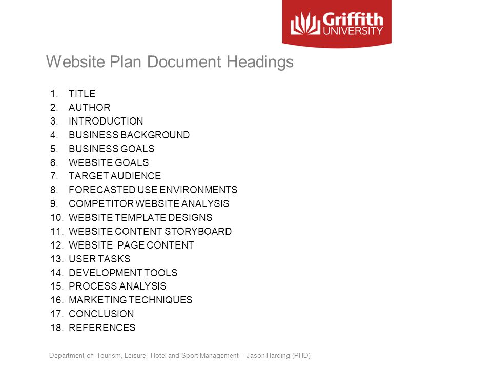 Website Plan Document Headings 1.TITLE 2.AUTHOR 3.INTRODUCTION 4.BUSINESS BACKGROUND 5.BUSINESS GOALS 6.WEBSITE GOALS 7.TARGET AUDIENCE 8.FORECASTED U