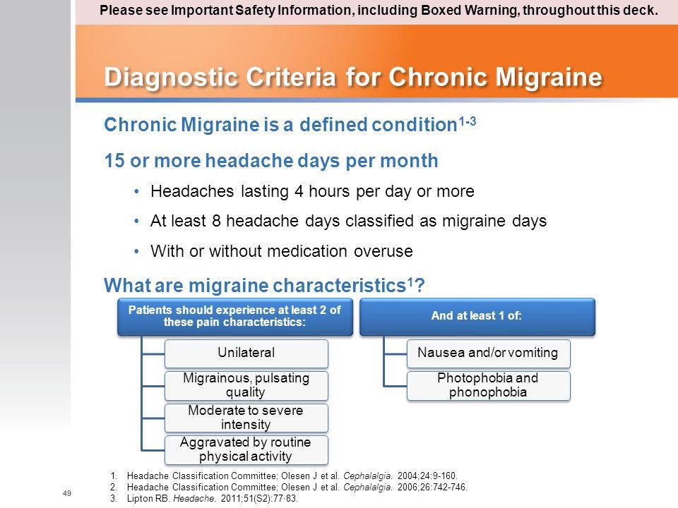 Diagnostic Criteria for Chronic Migraine Chronic Migraine is a defined condition 1-3 15 or more headache days per month Headaches lasting 4 hours per