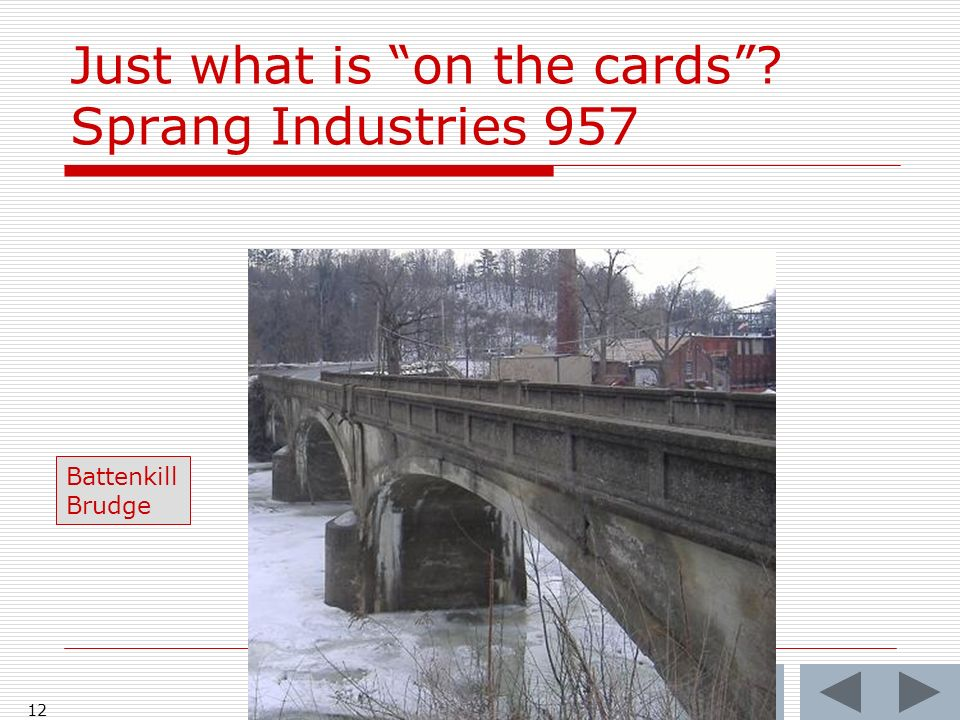 Just what is on the cards Sprang Industries 957 12 Battenkill Brudge