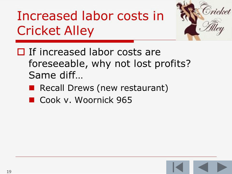 Increased labor costs in Cricket Alley If increased labor costs are foreseeable, why not lost profits.