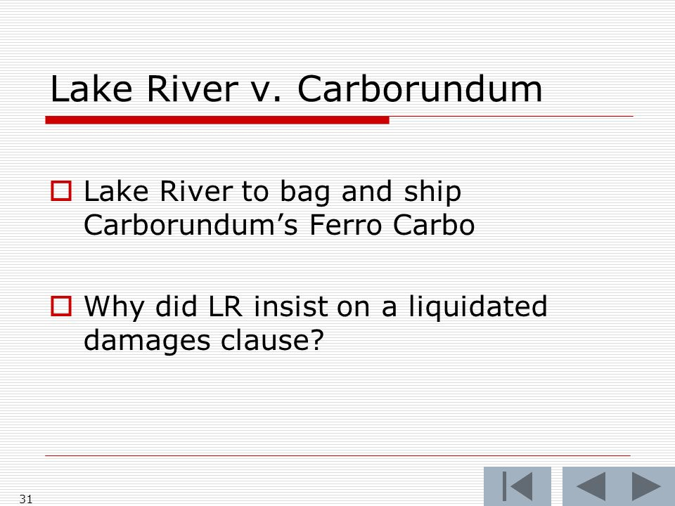 Lake River v. Carborundum Lake River to bag and ship Carborundums Ferro Carbo Why did LR insist on a liquidated damages clause? 31