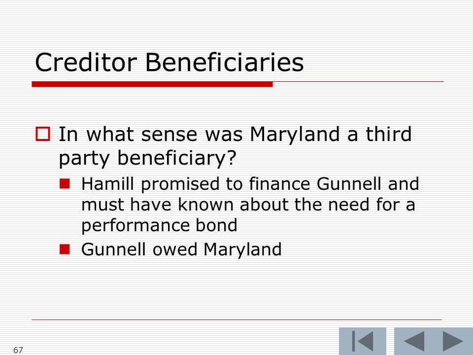 Creditor Beneficiaries In what sense was Maryland a third party beneficiary.