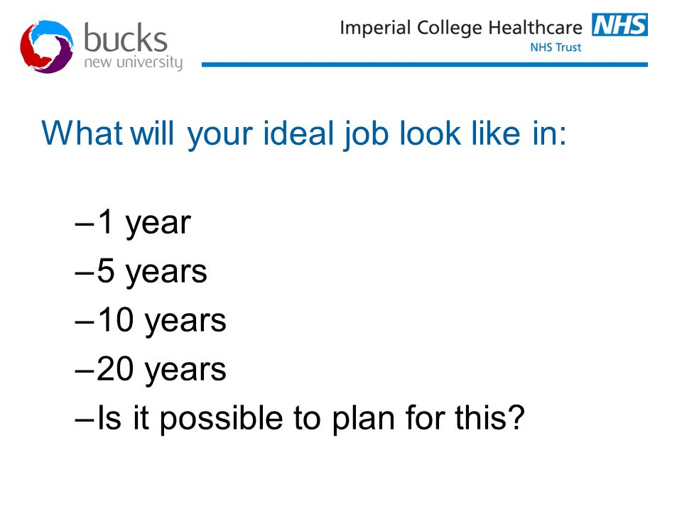 What will your ideal job look like in: –1 year –5 years –10 years –20 years –Is it possible to plan for this?