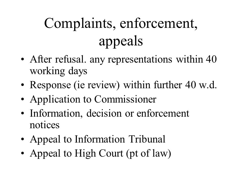 Complaints, enforcement, appeals After refusal.