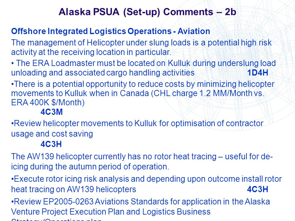 Alaska PSUA (Set-up) Comments – 2b Offshore Integrated Logistics Operations - Aviation The management of Helicopter under slung loads is a potential h
