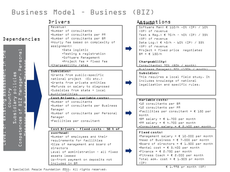 Business Model – Business (BIZ) Cost Drivers – variable costs: Number of consultants Number of consultants per Business Manager Number of consultants
