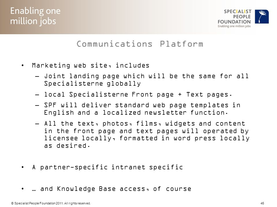 © Specialist People Foundation 2011. All rights reserved. 45 Communications Platform Marketing web site, includes –Joint landing page which will be th