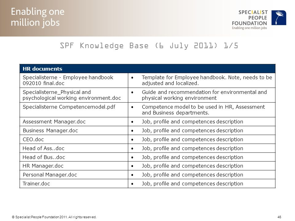© Specialist People Foundation 2011. All rights reserved. 46 SPF Knowledge Base (6 July 2011) 1/5 HR documents Specialisterne - Employee handbook 0920