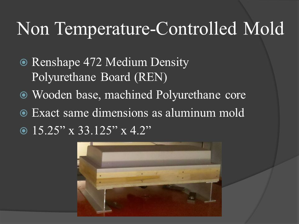 Non Temperature-Controlled Mold Renshape 472 Medium Density Polyurethane Board (REN) Wooden base, machined Polyurethane core Exact same dimensions as aluminum mold 15.25 x 33.125 x 4.2