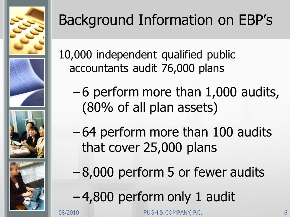 08/2010PUGH & COMPANY, P.C.6 Background Information on EBPs 10,000 independent qualified public accountants audit 76,000 plans –6 perform more than 1,