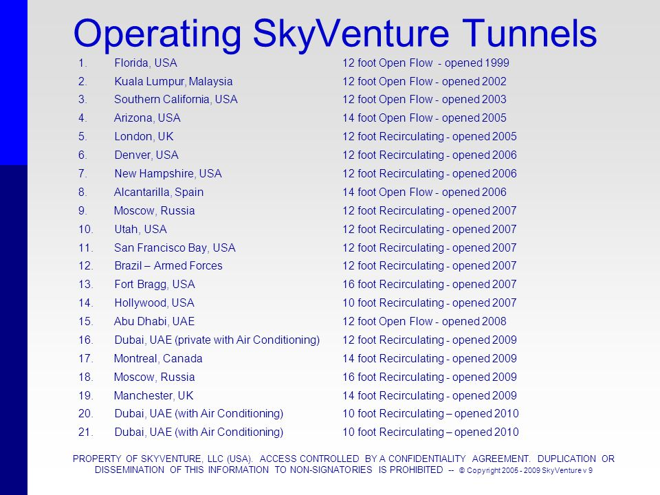 PROPERTY OF SKYVENTURE, LLC (USA). ACCESS CONTROLLED BY A CONFIDENTIALITY AGREEMENT. DUPLICATION OR DISSEMINATION OF THIS INFORMATION TO NON-SIGNATORI