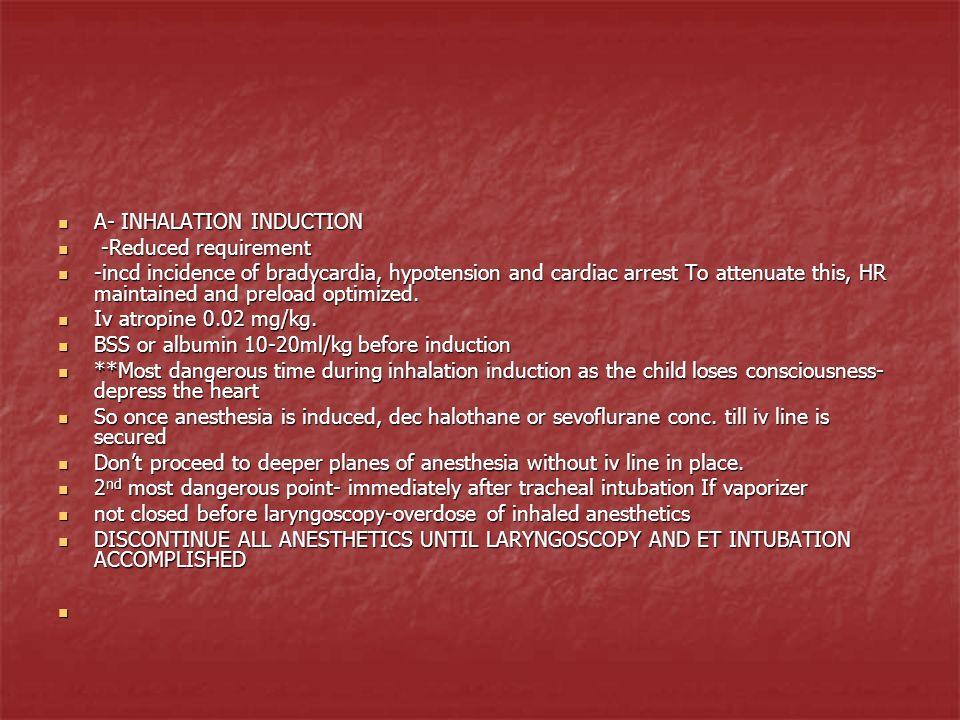 A- INHALATION INDUCTION A- INHALATION INDUCTION -Reduced requirement -Reduced requirement -incd incidence of bradycardia, hypotension and cardiac arre