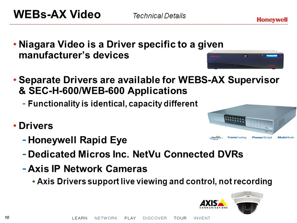10 WEBs-AX Video Technical Details Niagara Video is a Driver specific to a given manufacturers devices Separate Drivers are available for WEBS-AX Supe