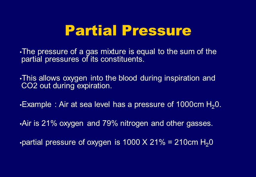 Partial Pressure The pressure of a gas mixture is equal to the sum of the partial pressures of its constituents. This allows oxygen into the blood dur