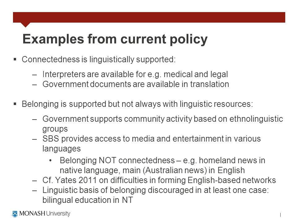 Examples from current policy Connectedness is linguistically supported: –Interpreters are available for e.g. medical and legal –Government documents a