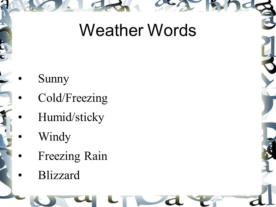 Weather Words Sunny Cold/Freezing Humid/sticky Windy Freezing Rain Blizzard