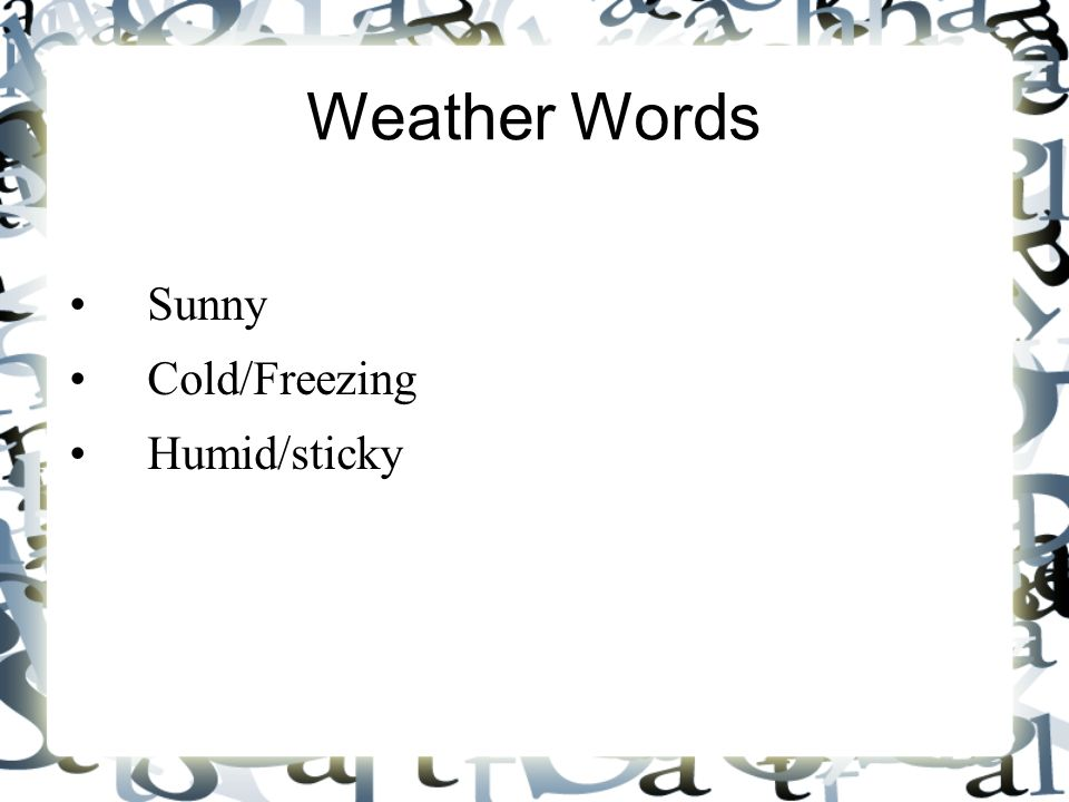 Weather Words Sunny Cold/Freezing Humid/sticky