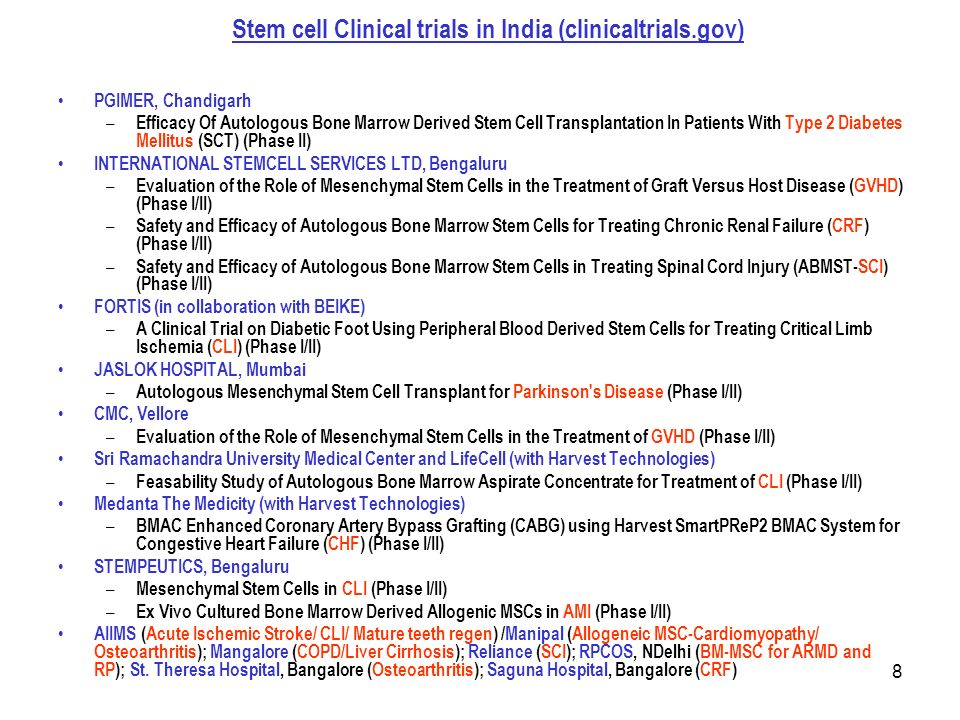 8 Stem cell Clinical trials in India (clinicaltrials.gov) PGIMER, Chandigarh – Efficacy Of Autologous Bone Marrow Derived Stem Cell Transplantation In