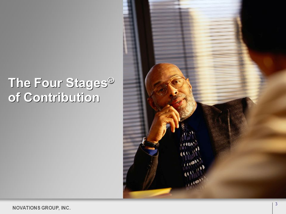 3 NOVATIONS GROUP, INC. 3 The Four Stages ® of Contribution 3 NOVATIONS GROUP, INC.