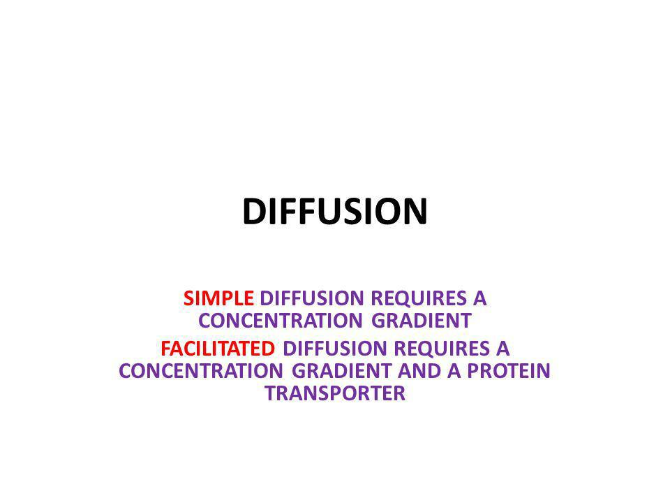 DIFFUSION SIMPLE DIFFUSION REQUIRES A CONCENTRATION GRADIENT FACILITATED DIFFUSION REQUIRES A CONCENTRATION GRADIENT AND A PROTEIN TRANSPORTER