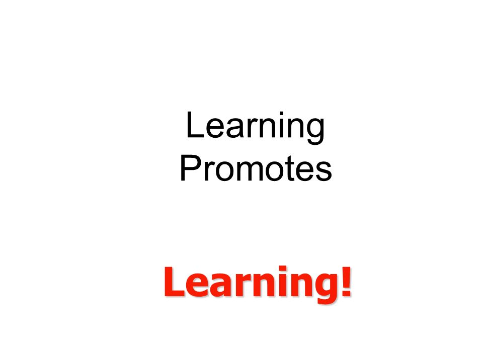 Learning Promotes Learning!