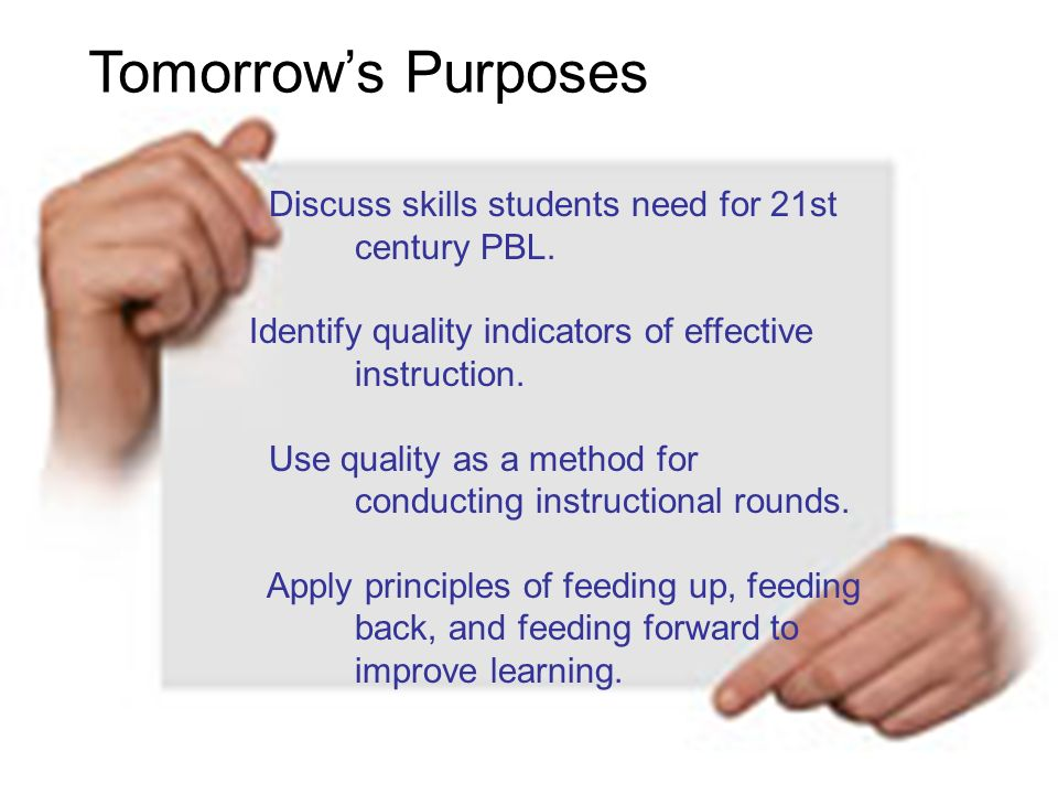 Discuss skills students need for 21st century PBL. Identify quality indicators of effective instruction. Use quality as a method for conducting instru