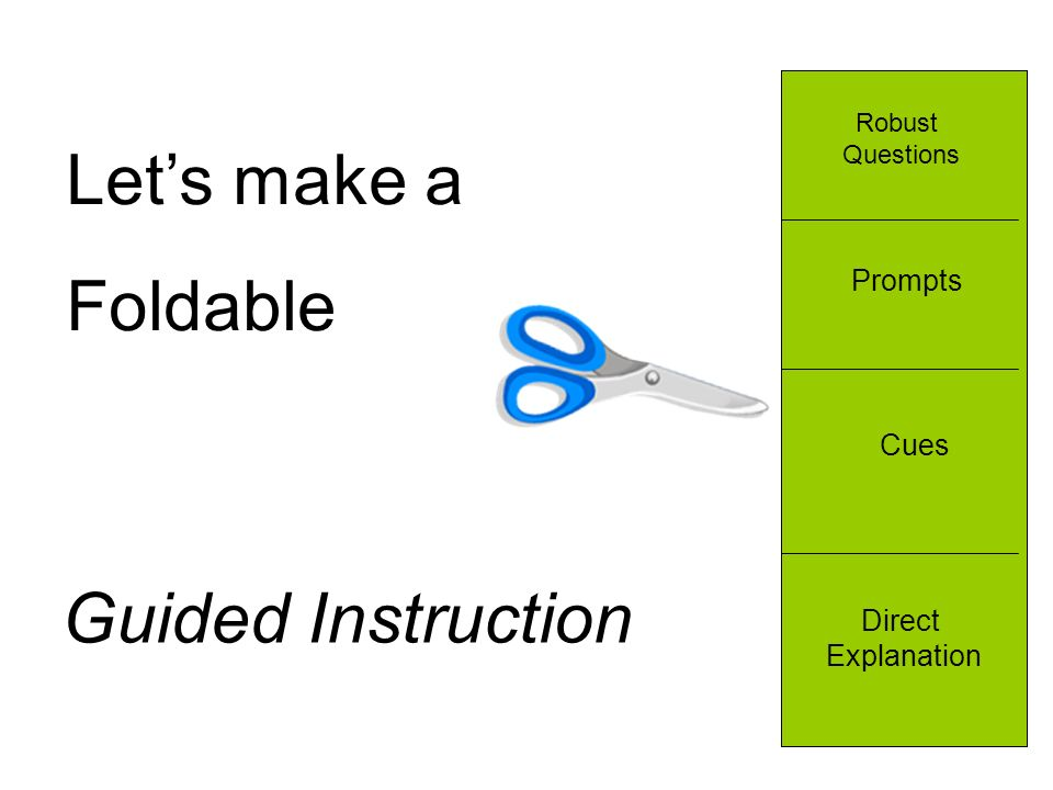Lets make a Foldable Robust Questions Prompts Cues Direct Explanation Guided Instruction