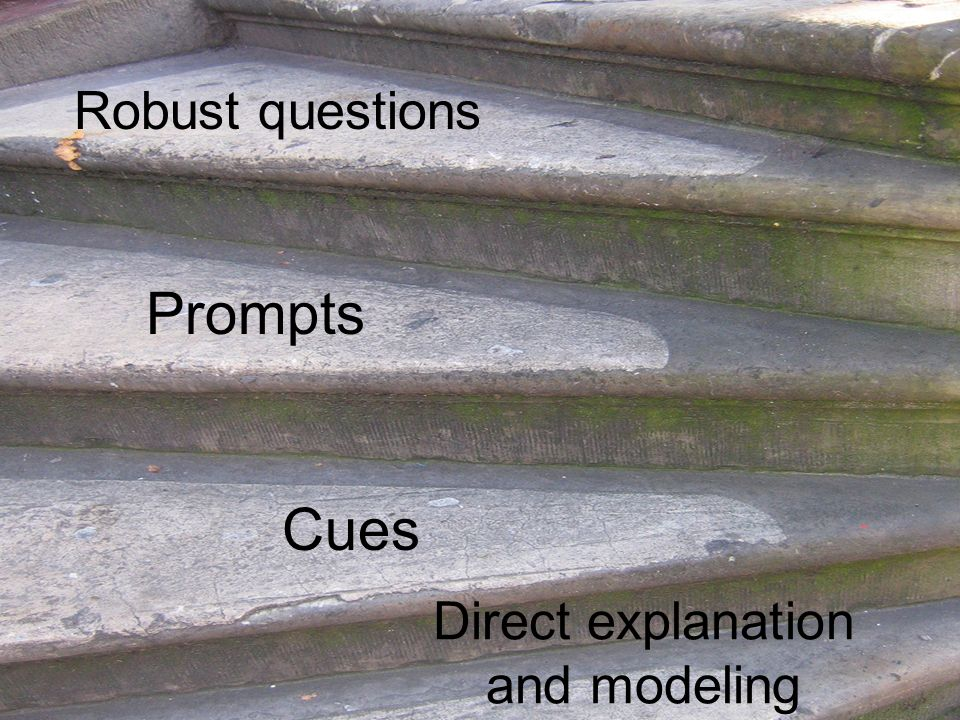 Direct explanation and modeling Cues Prompts Robust questions