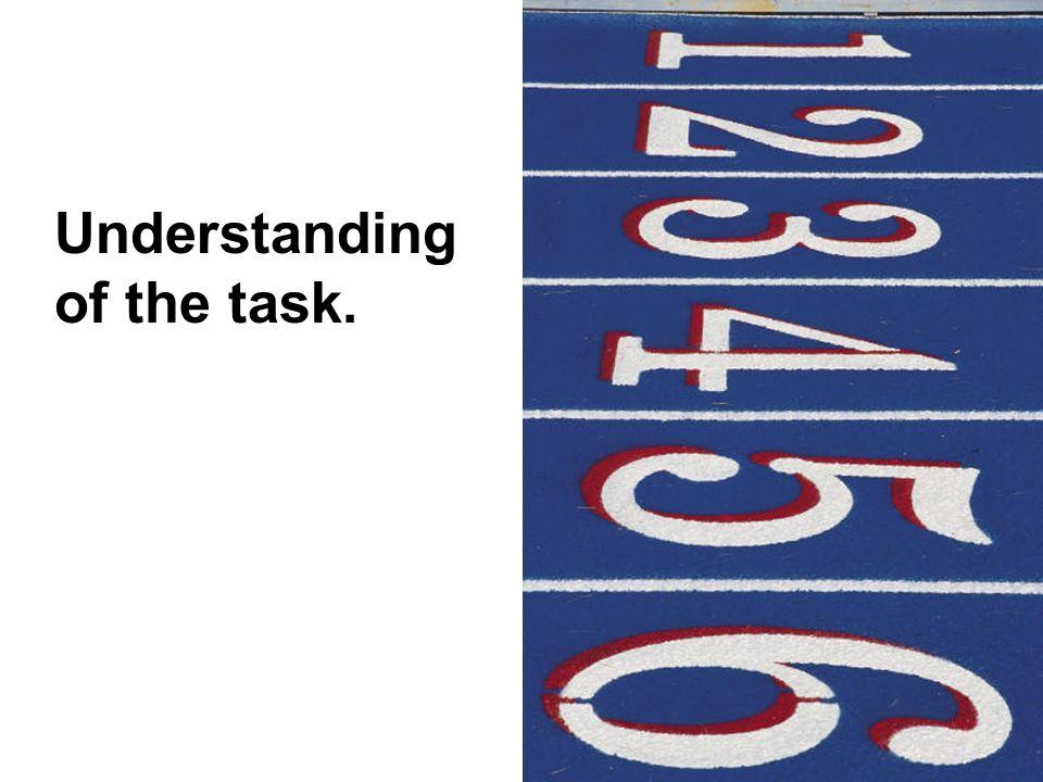Understanding of the task.