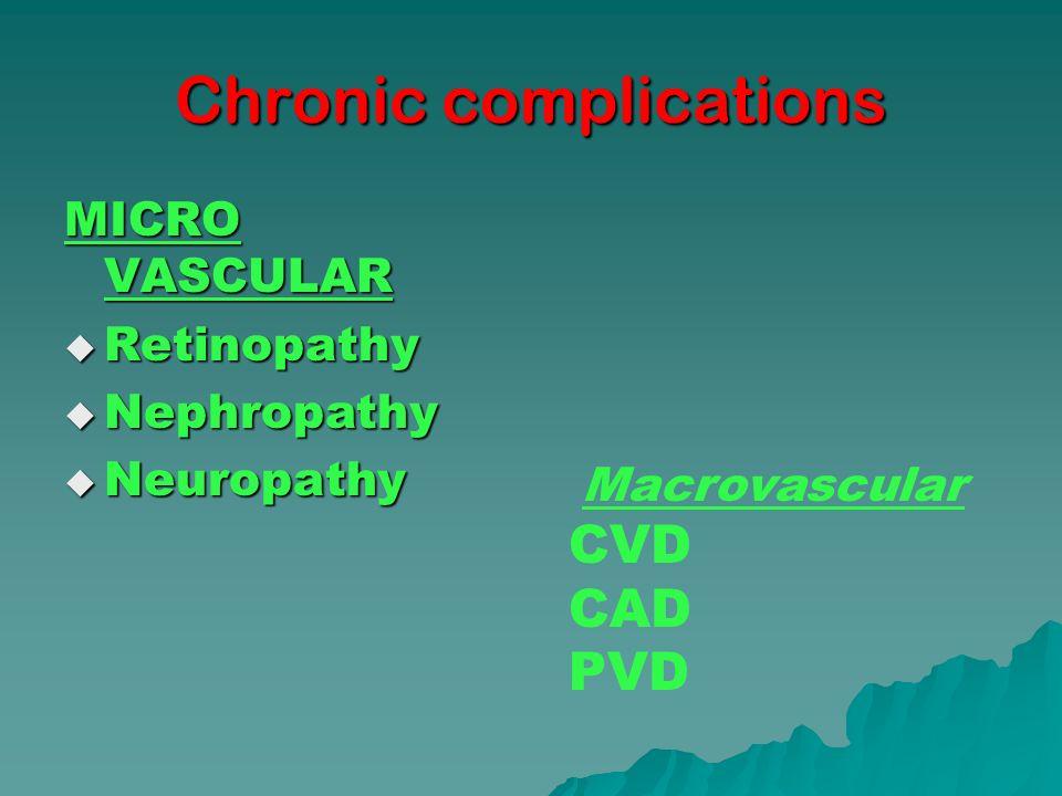 Chronic complications MICRO VASCULAR Retinopathy Retinopathy Nephropathy Nephropathy Neuropathy Neuropathy Macrovascular CVD CAD PVD