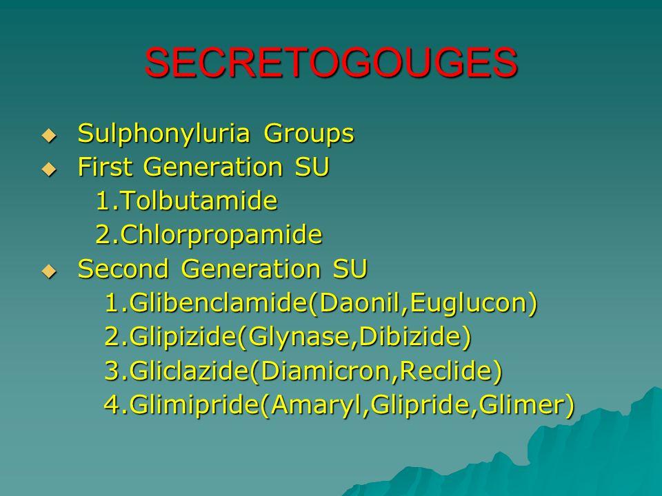 SECRETOGOUGES Sulphonyluria Groups Sulphonyluria Groups First Generation SU First Generation SU 1.Tolbutamide 1.Tolbutamide 2.Chlorpropamide 2.Chlorpr