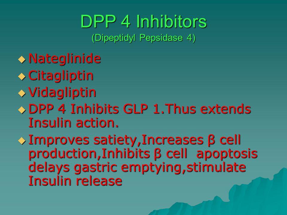 DPP 4 Inhibitors (Dipeptidyl Pepsidase 4) Nateglinide Nateglinide Citagliptin Citagliptin Vidagliptin Vidagliptin DPP 4 Inhibits GLP 1.Thus extends In