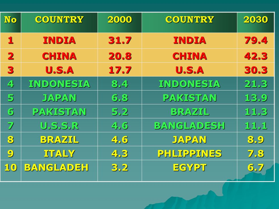 NoCOUNTRY2000COUNTRY2030 1INDIA31.7INDIA79.4 2CHINA20.8CHINA42.3 3U.S.A17.7U.S.A30.3 4INDONESIA8.4INDONESIA21.3 5JAPAN6.8PAKISTAN13.9 6PAKISTAN5.2BRAZ