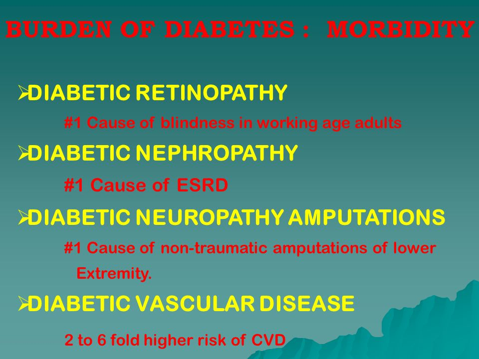 BURDEN OF DIABETES : MORBIDITY DIABETIC RETINOPATHY #1 Cause of blindness in working age adults DIABETIC NEPHROPATHY #1 Cause of ESRD DIABETIC NEUROPA