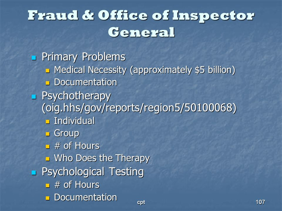 cpt107 Fraud & Office of Inspector General Primary Problems Primary Problems Medical Necessity (approximately $5 billion) Medical Necessity (approxima