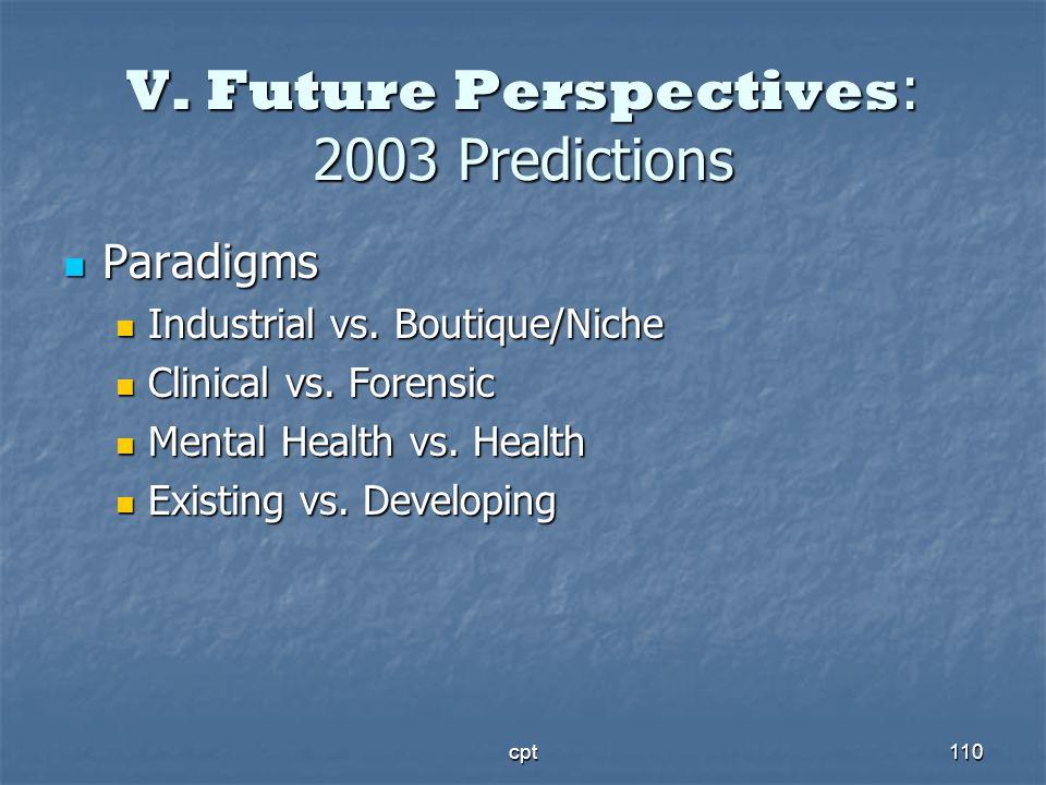 cpt110 V. Future Perspectives : 2003 Predictions Paradigms Paradigms Industrial vs. Boutique/Niche Industrial vs. Boutique/Niche Clinical vs. Forensic
