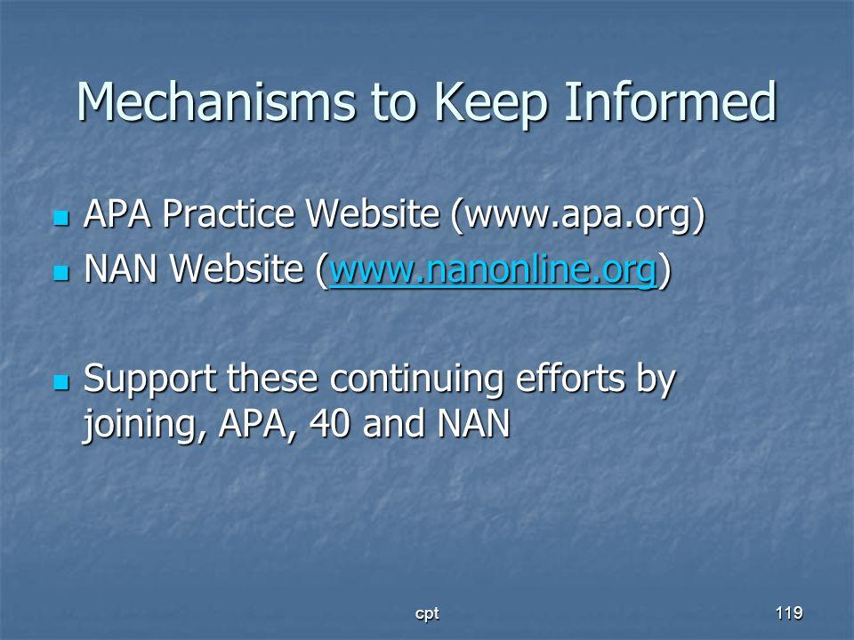 cpt119 Mechanisms to Keep Informed APA Practice Website (www.apa.org) APA Practice Website (www.apa.org) NAN Website (www.nanonline.org) NAN Website (