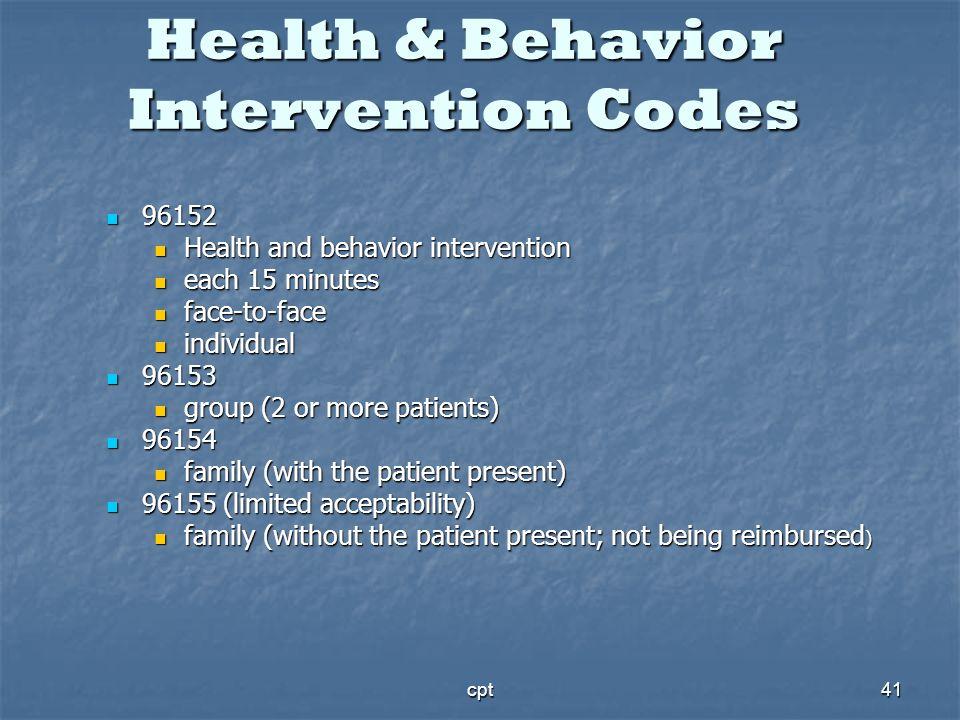 cpt41 Health & Behavior Intervention Codes 96152 96152 Health and behavior intervention Health and behavior intervention each 15 minutes each 15 minut